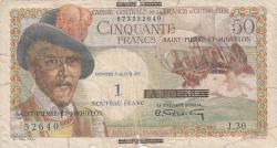 Imaginea #1 a 1 Nouveau Franc ND (1960) (supratipar pe emisiunea 50 Franci ND (1947) - Reunion)
