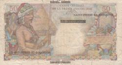 Imaginea #2 a 1 Nouveau Franc ND (1960) (supratipar pe emisiunea 50 Franci ND (1947) - Reunion)