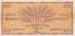 100 Markkaa/Mark 1957 - semnături Leinonen / Sacklen
