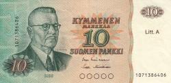 Imaginea #1 a 10 Markkaa 1980 - semnături Lindblom / Hämäläinen