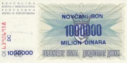 Imaginea #2 a 1 000 000 Dinari 1993 (10. XI.) (Supratipar pe emisiunea 25 Dinari 1992 (1. VII.) - P#11a)