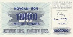 Imaginea #1 a 1 000 000 Dinari 1993 (10. XI.) (Supratipar pe emisiunea 25 Dinari 1992 (1. VII.) - P#11a)