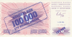 Imaginea #1 a 100 000 Dinari 1993 (1. IX.) (Supratipar pe emisiunea 10 Dinari 1992 (1. VII.) - P#10a)