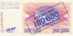 Imaginea #2 a 100 000 Dinari 1993 (1. IX.) (Supratipar pe emisiunea 10 Dinari 1992 (1. VII.) - P#10a)