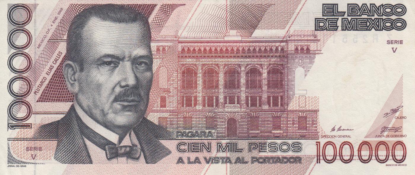 MEXICO BANKNOTE 100000 Pesos Pick 94a  UNC  1988