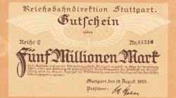 Image #1 of 5 Millionen (5 000 000) Mark 1923 (18. VIII.) - Reihe 2