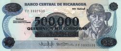 Image #1 of 500 000 Córdobas pe 20 Córdobas ND (1990)