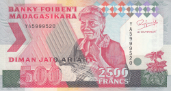 Imaginea #1 a 2500 Francs = 500 Ariary ND (1993)