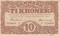 Imaginea #1 a 10 Coroane 1943 - Serie T (semnături Svendsen / Hannibal)