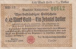Image #1 of 0.42 Mark Gold 1923 = 1/10 Dollar 1923 (7. XI.)