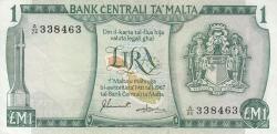 Image #1 of 1 Lira L.1967 (1973) - signatures Joseph Sammut / H. de Gabriele