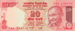 Image #1 of 20 Rupees ND (2002) E - signature Y. V. Reddy (89)