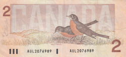 Image #2 of 2 Dollars 1986 - signatures Crow-Bouey