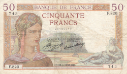 Image #1 of 50 Francs 1935 (28. II.)