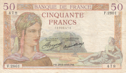 Image #1 of 50 Francs 1935 (29. VIII.)