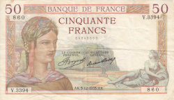 Image #1 of 50 Francs 1935 (5. XII.)