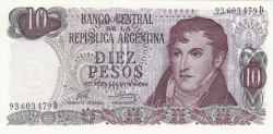 Image #1 of 10 Pesos ND (1973-1976) - signatures Enrique Porta / Emilio Mondelli