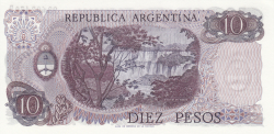 Image #2 of 10 Pesos ND (1973-1976) - signatures Enrique Porta / Emilio Mondelli