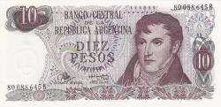 Imaginea #1 a 10 Pesos ND (1970-1973) - semnături Rodolfo A. Mancini/ Alfredo Gómez Morales