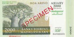 Image #1 of 2000 Ariary = 10000 FrancS 2007 - SPECIMEN