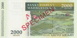 Image #2 of 2000 Ariary = 10000 FrancS 2007 - SPECIMEN
