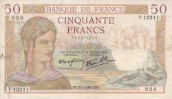 Image #1 of 50 Francs 1940 (8. II.)