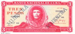 Imaginea #1 a 3 Pesos 1986 - SPECIMEN (MUESTRA)