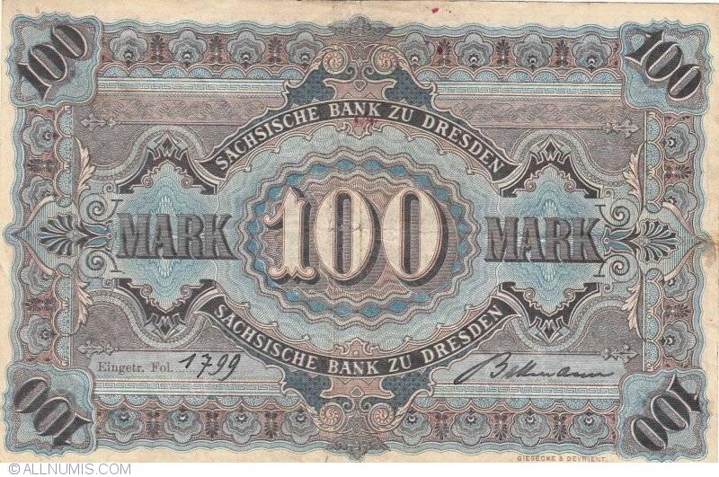 100 mark 1911 2 i ser viii 1890 1911 issue for Deutsche bank nurnberg