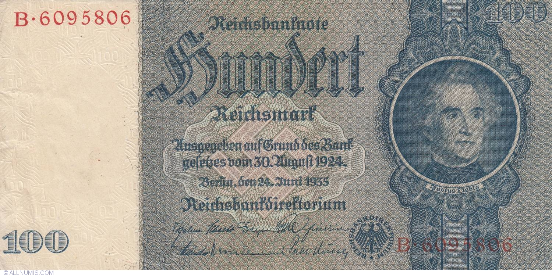 100 reichsmark 1935 24 vi 1945 1935 1945 issue 100 reichsmark germany banknote. Black Bedroom Furniture Sets. Home Design Ideas