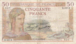 Image #1 of 50 Francs 1936 (19. XI.)