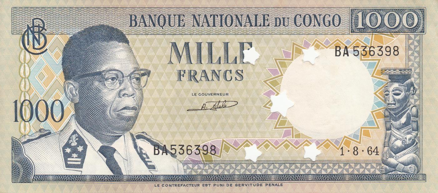 Banknote Cancelled Democratic Republic of the Congo 1000 FRANCS 1964 Unc