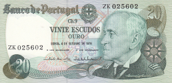 Image #1 of 20 Escudos 1978 (4. X.) - signatures  Emílio Rui da Veiga Peixoto Vilar / Vítor Manuel Ribeiro Constâncio