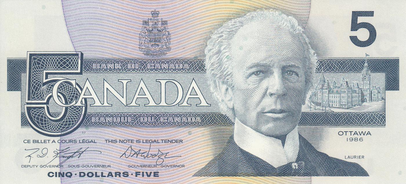 CANADA 5 DOLLARS P-95 B 1986 KINGFISHER BIRD PARLIAMENT UNC MONEY BILL BANK NOTE