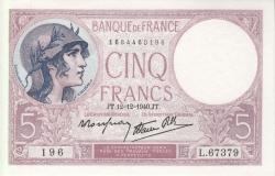 5 Franci 1940 (12. XII.)