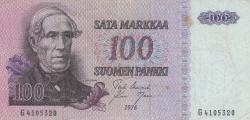 Imaginea #1 a 100 Markkaa 1976 - semnături Uusivirta / Nars