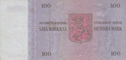 Imaginea #2 a 100 Markkaa 1976 - semnături Uusivirta / Nars