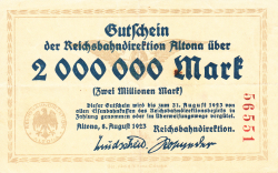 Image #1 of 2 Millionen Mark 1923 (8. VIII.) - 1
