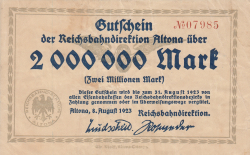 Image #1 of 2 Millionen Mark 1923 (8. VIII.) - 2