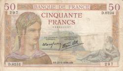 Image #2 of 50 Francs 1938 (27. V.)