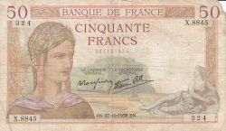 Image #1 of 50 Francs 1938 (27. X.)