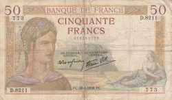 Image #1 of 50 Francs 1938 (28. IV.)