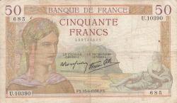 Image #1 of 50 Francs 1939 (15. VI.)