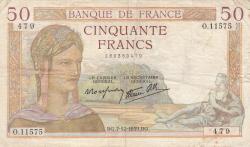 Image #1 of 50 Francs 1939 (7. XII.)