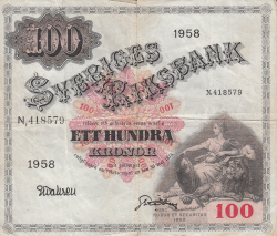 Image #1 of 100 Kronor 1958 - 2