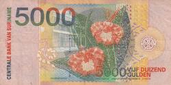 2000 P-152 Parrot Colorful Note Unc Gulden Suriname 5000 5,000