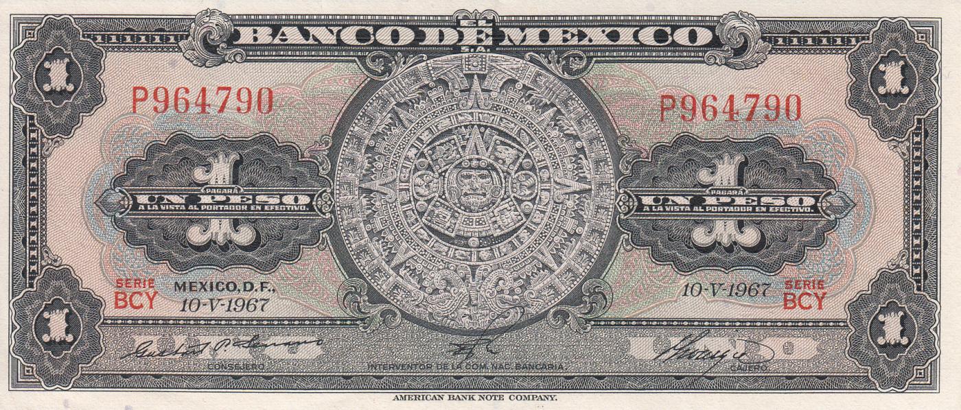 Mexico 10 Pesos 1967 P-58L Serie BCY
