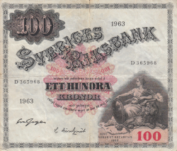 Image #1 of 100 Kronor 1963 - 1