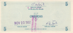 Image #2 of 5 Pesos ND (Signed, stamped and dated)