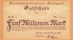 Image #1 of 5 Millionen (5 000 000) Mark, 1923 (18. VIII.) - Reihe 1