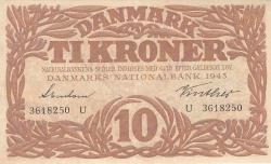 Imaginea #1 a 10 Coroane 1943 - Serie U (semnături Svendsen / Vinther)